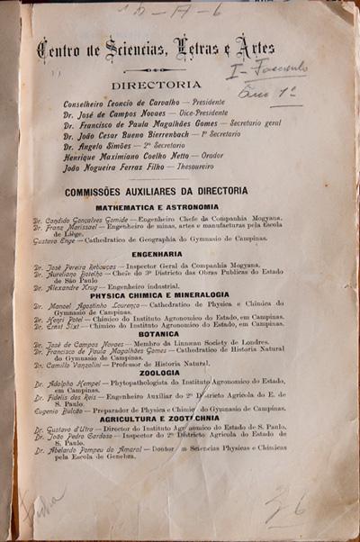 Edição nº 1 da Revista mostra a composição das comissões científicas, maioria no momento de criação do Centro de Ciências Letras e Artes
