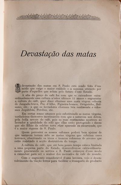 """Edição nº 1 da Revista do CCLA, de 1902, tendo a """"Devastação das Matas"""" como assunto principal"""